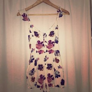 Forever 21 Floral Romper with Pockets